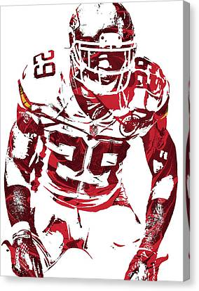 Canvas Print featuring the mixed media Eric Berry Kansas City Chiefs Pixel Art 2 by Joe Hamilton