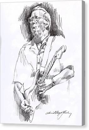 Fender Strat Canvas Print - Eric Clapton Blue by David Lloyd Glover