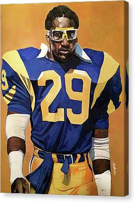 Eric Dickerson Los Angeles Rams Canvas Print by Michael  Pattison