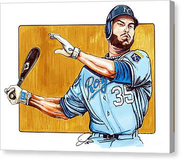Eric Hosmer Of The Kansas City Royals Canvas Print by Dave Olsen