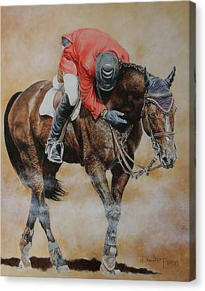 Jumping Horse Canvas Print - Eric Lamaze And Hickstead by David McEwen