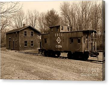 Erie Rr Line Caboose In Black And White Canvas Print