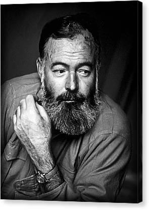 Novel Canvas Print - Ernest Hemingway 1944 by Daniel Hagerman