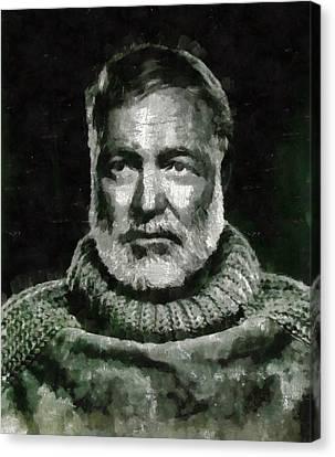 Ernest Hemingway Author Canvas Print by Mary Bassett