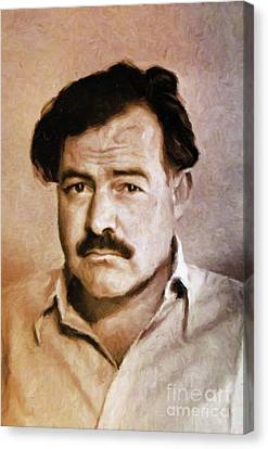 Thriller Canvas Print - Ernest Hemingway, Literary Legend By Mary Bassett by Mary Bassett