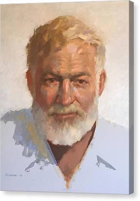 Ernest Hemingway Canvas Print by Mike Hanlon