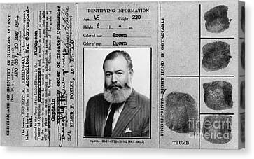 Ernest Hemingway Military Identification  Canvas Print
