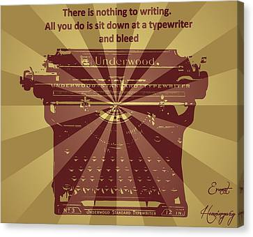 Typewriter Keys Canvas Print - Ernest Hemingway Typewriter Quote by Dan Sproul