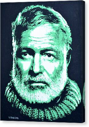 Ernest Hemingway Canvas Print by Victor Minca