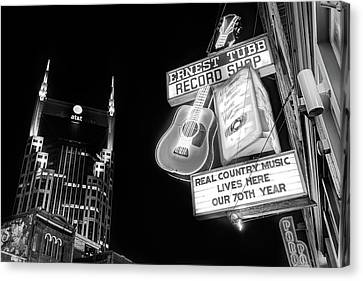 Nashville Tennessee Canvas Print - Ernest Tubb Record Shop - Downtown Nashville - Black And White by Gregory Ballos