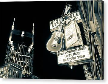 Nashville Tennessee Canvas Print - Ernest Tubb Record Shop - Downtown Nashville - Sepia by Gregory Ballos