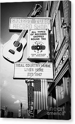 Downtown Nashville Canvas Print - ernest tubbs record shop on broadway downtown Nashville Tennessee USA by Joe Fox
