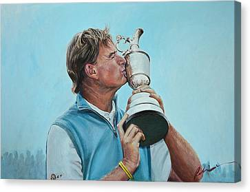 Claret Canvas Print - Ernie Els Wins The Open At Muirfield by Mark Robinson