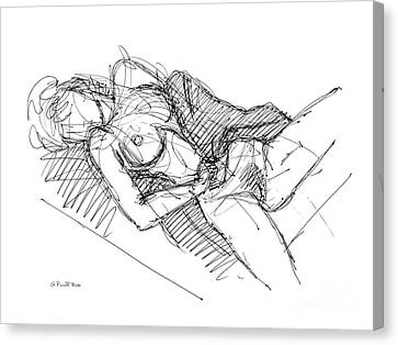 Canvas Print featuring the drawing Erotic Art Drawings 7 by Gordon Punt