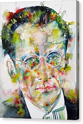 Canvas Print featuring the painting Erwin Schrodinger - Watercolor Portrait by Fabrizio Cassetta