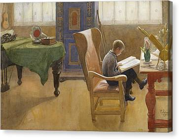 Esbjorn At The Study Corner Canvas Print by Carl Larsson