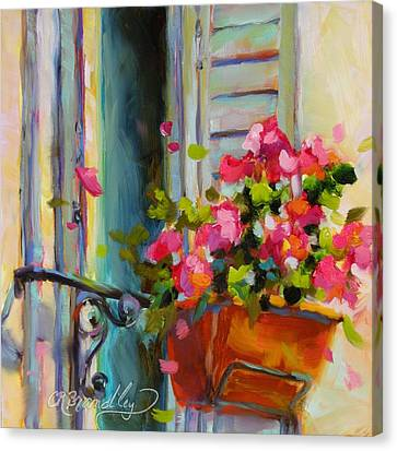 Blue Begonia Canvas Print - Escape To France by Chris Brandley