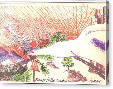 Canvas Print featuring the drawing Escape To The Country by Rod Ismay