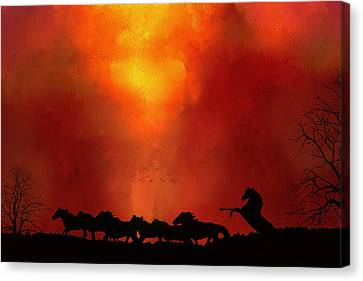 Escaping The Inferno Canvas Print by Diane Schuster