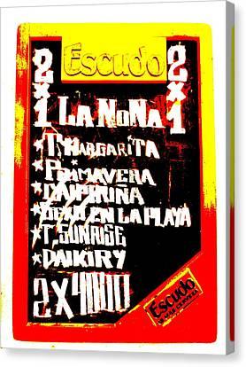 Escudo Bar Menu In Santiago  Canvas Print by Funkpix Photo Hunter