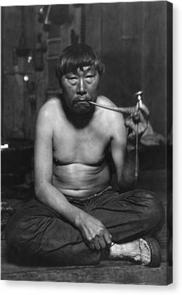 Eskimo Smoking Pipe, Photograph Canvas Print by Everett