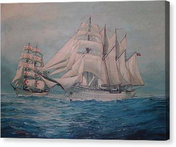 Esmerelda And The Sagres Tall Ships Canvas Print