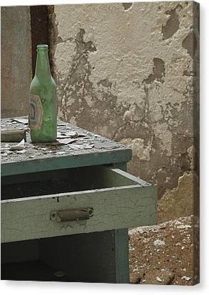 Esp Bottle And Table 0056 Canvas Print by Bob Neiman