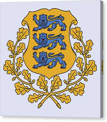 Canvas Print featuring the drawing Estonia Coat Of Arms by Movie Poster Prints