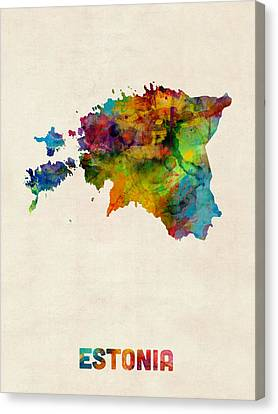 Estonia Watercolor Map Canvas Print