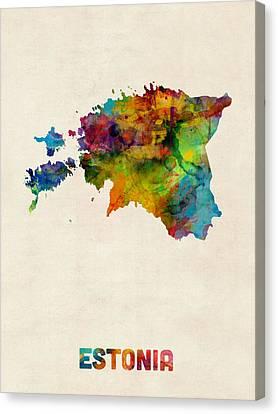 Estonia Watercolor Map Canvas Print by Michael Tompsett