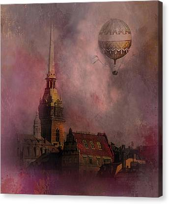 Canvas Print featuring the digital art Stockholm Church With Flying Balloon by Jeff Burgess