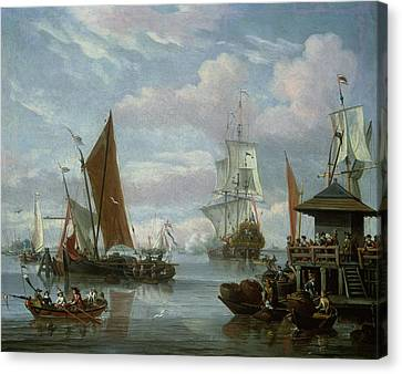 Estuary Scene With Boats And Fisherman Canvas Print by Johannes de Blaauw