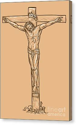 esus Christ hanging on the cross Canvas Print by Aloysius Patrimonio