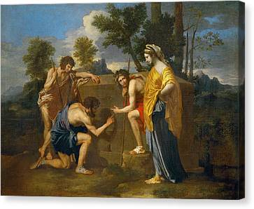 Et In Arcadia Ego Canvas Print by Nicolas Poussin