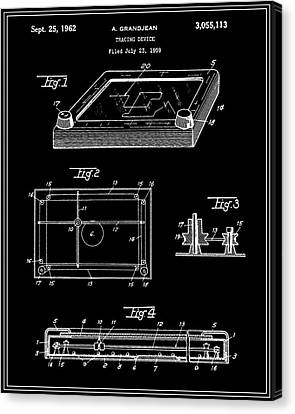Etch A Sketch Canvas Print - Etch-a-sketch Patent - Black by Finlay McNevin