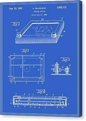 Etch A Sketch Canvas Print - Etch-a-sketch Patent - Blueprint by Finlay McNevin