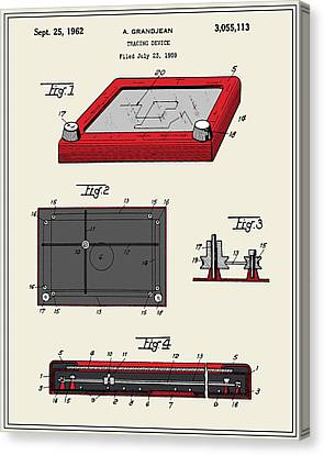 Etch A Sketch Canvas Print - Etch-a-sketch Patent by Finlay McNevin