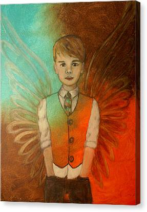 Ethan Little Angel Of Strength And Confidence Canvas Print by The Art With A Heart By Charlotte Phillips