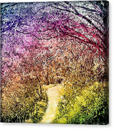 Canvas Print featuring the digital art Ethereal Garden Pathway - Trail In Santa Monica Mountains by Joel Bruce Wallach