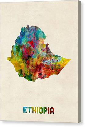 Africa Canvas Print - Ethiopia Watercolor Map by Michael Tompsett