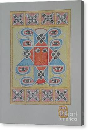 Ethiopian Cherub Talismen Scroll Canvas Print by Assumpta Tafari Tafrow Neo-Impressionist Works on Paper
