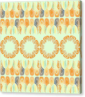 Ethnic Orange Pattern Canvas Print by Gaspar Avila