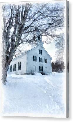 Canvas Print featuring the painting Etna Center Church by Edward Fielding