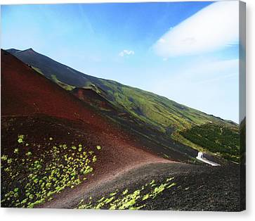 Etna Volcano And Road  Canvas Print by Nat Air Craft