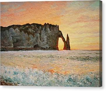 Etretat, Sunset  Canvas Print