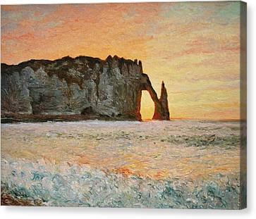 Etretat, Sunset  Canvas Print by Pierre Van Dijk