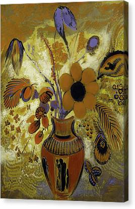 Canvas Print featuring the painting Etrusian Vase With Flowers by Odilon Redon