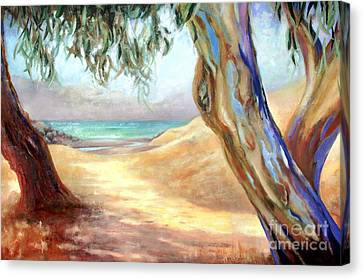 Canvas Print featuring the painting Eucalyptus Beach Trail by Michael Rock