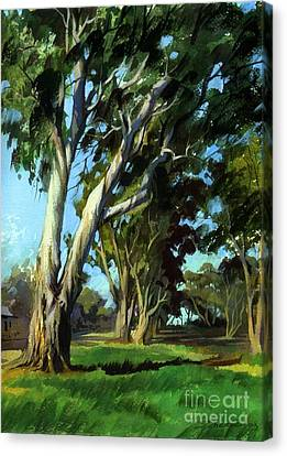 Canvas Print featuring the painting Eucalyptuses by Sergey Zhiboedov
