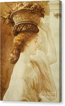 Basket Head Canvas Print - Eucharis  A Girl With A Basket Of Fruit by Frederic Leighton